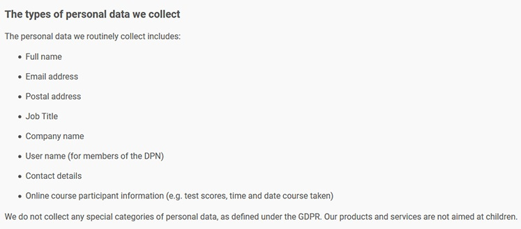 Data Protection Network Privacy Statement: The types of personal data we collect clause