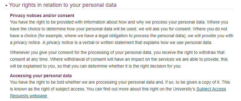 Durham University Privacy Notice: Personal data rights clause - Privacy notices, consent and accessing personal data excerpts