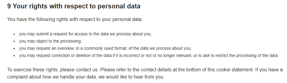 Elite Sports NY Do Not Sell My Personal Information Page: Your rights with respect to personal data clause