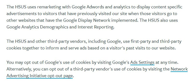 HSUS Privacy Policy: Other Information clause excerpt - Google AdWords and Cookies section