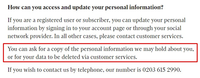 Independent Privacy Notice: How can you access and update your personal information clause - delete information