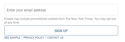 NYTimes Privacy Project: Email sign-up form