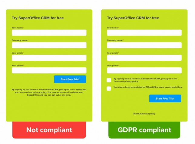 SuperOffice free trial forms showing comparison of GDPR compliance
