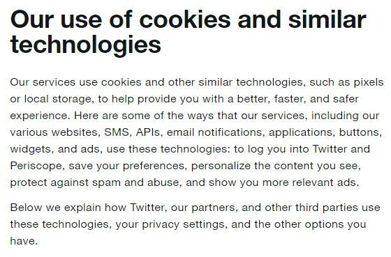 Twitter Cookies Policy: Intro clause