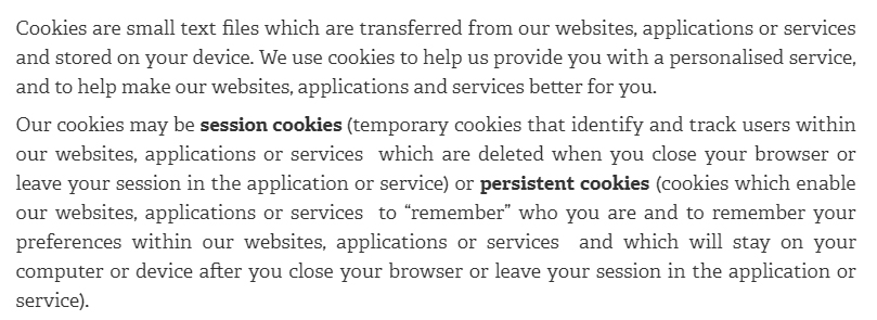 Sage Privacy Notice and Cookie Policy: Cookies, analytics and traffic data clause intro