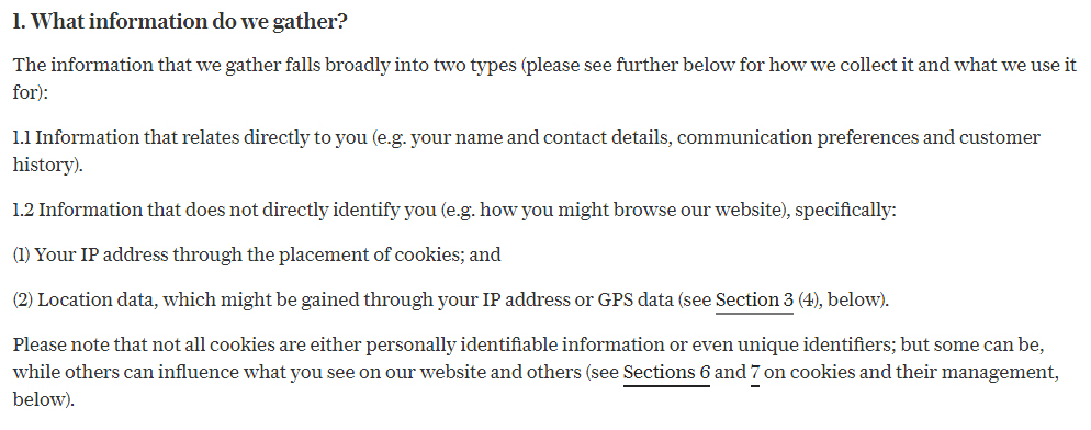 Telegraph UK Privacy and Cookie Policy: What information do we gather clause