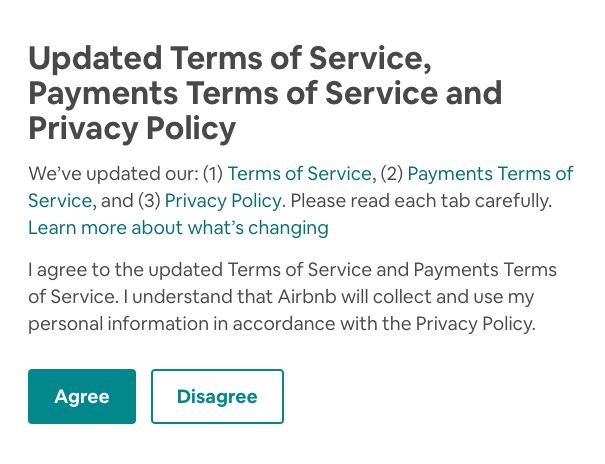Airbnb: Updated Terms and Privacy Policy - Notification with consent request