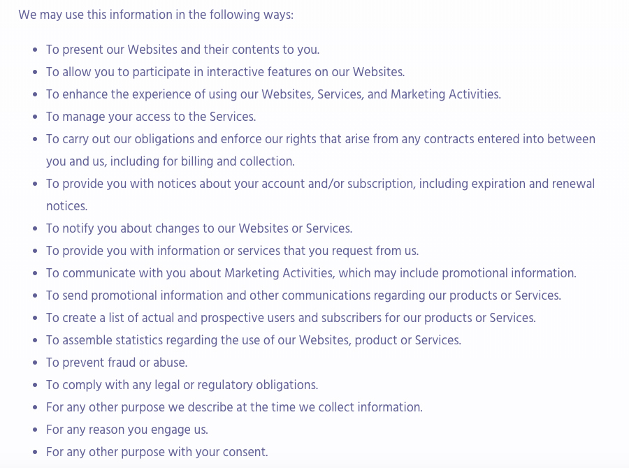 Algolia Privacy Policy: How we may use this information clause excerpt