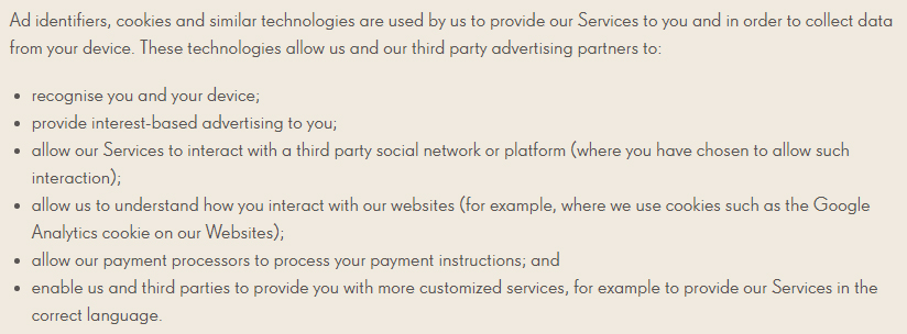 Candy Crush Privacy Policy: Ad identifiers, cookies and similar technologies clause excerpt