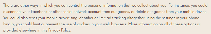 Candy Crush Privacy Policy: Control personal information clause
