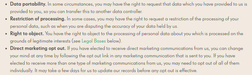 Candy Crush Privacy Policy: User rights clause excerpt