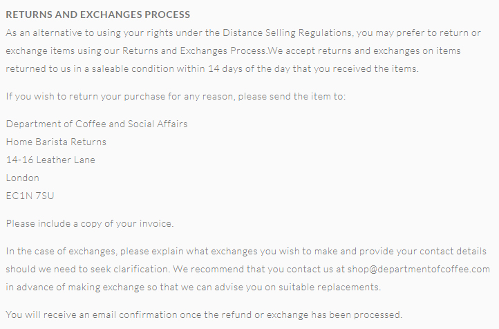 Dept of Coffee Shipping and Returns Policy: Returns and Exchanges Process clause