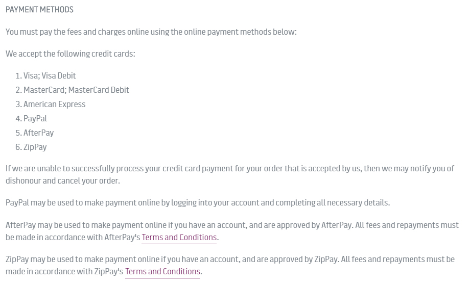 Dineamic Terms and Conditions: Payment Methods clause