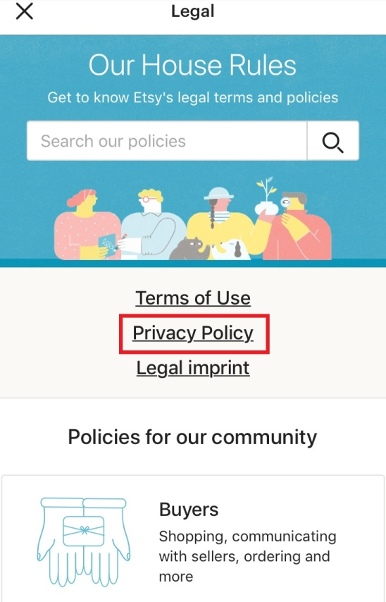 Etsy app: Legal menu with Privacy Policy highlighted