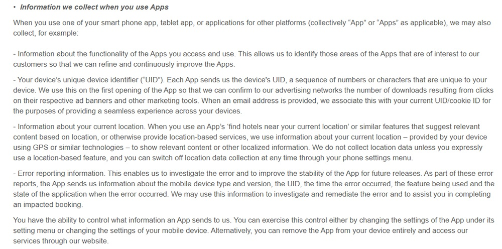 Expedia Privacy Policy: What personal information do we collect and why clause - Collected through apps excerpt