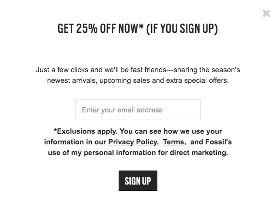 Fossil Email Sign-up Form