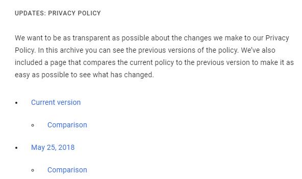 Google Privacy Policy Updates comparison screen