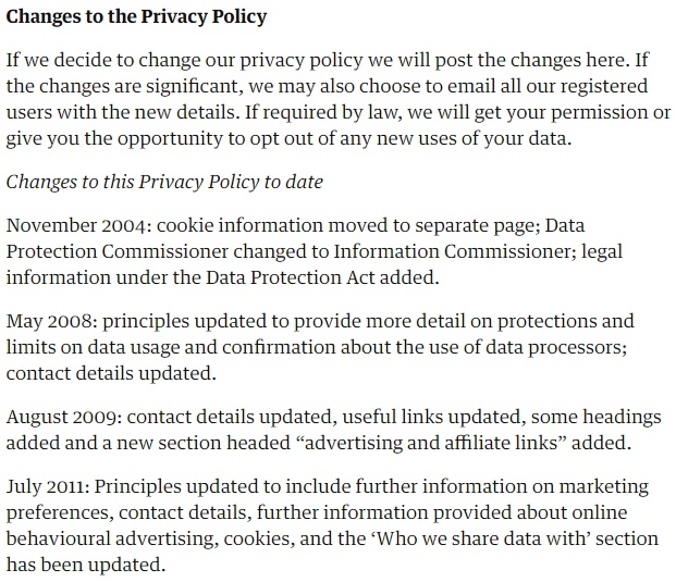 The Guardian Privacy Policy: Changes to this Privacy Policy clause excerpt
