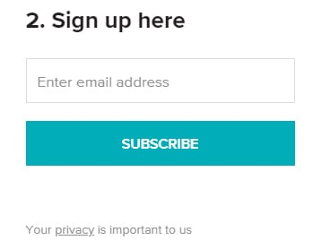 Healthline email sign-up form with Privacy Policy link