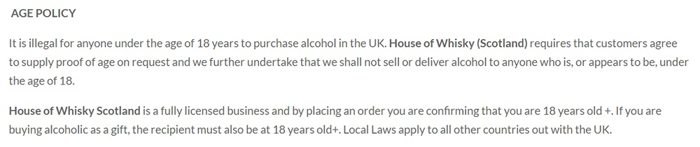 House of Whisky Terms and Conditions: Age Policy clause