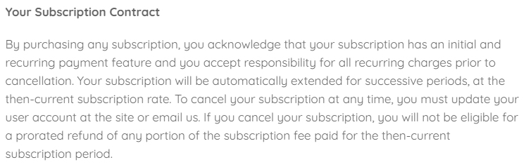 Kawaii Box Terms of Service: Your Subscription Contract clause