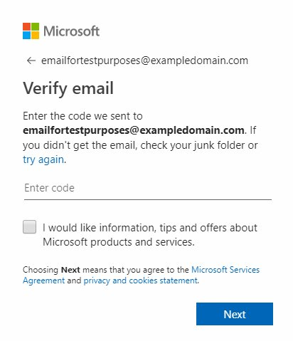Microsoft account sign-up form with checkbox