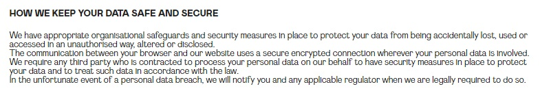 Nasty Gal Privacy Notice: Data security clause