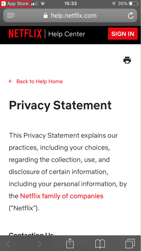 Netflix mobile Privacy Statement with return to app store highlighted