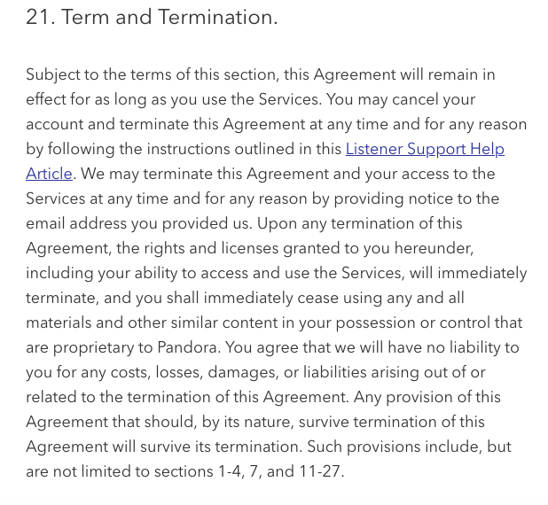 Pandora Services Terms of Use: Term and Termination clause