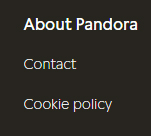 Pandora website footer showing Cookie Policy link