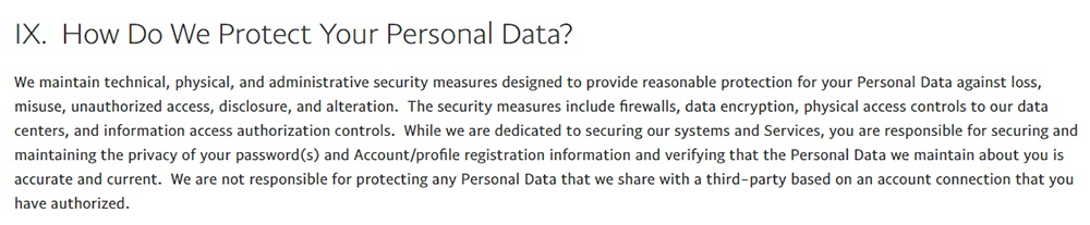 PayPal Privacy Statement: How Do We Protect Your Personal Data - Security clause