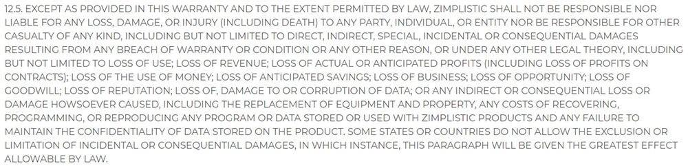 Rotimatic Terms of Sale: Limitation of Liability clause