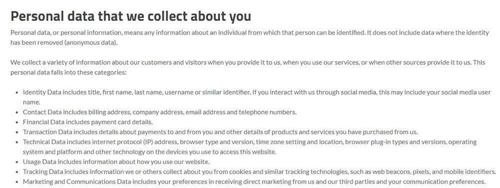 Trilio Privacy Policy: Personal data that we collect about you clause