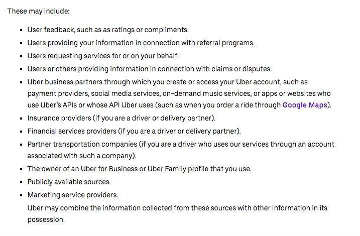 Uber Privacy Policy: Information created when you use our services - other sources clause excerpt