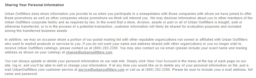 Urban Outfitters Privacy Policy: Sharing Your Personal Information clause excerpt