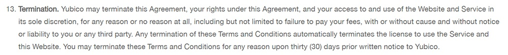 Yubico Terms and Conditions: Termination clause
