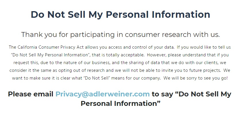 Adler Weiner: Screenshot of its Do Not Sell My Personal Information page