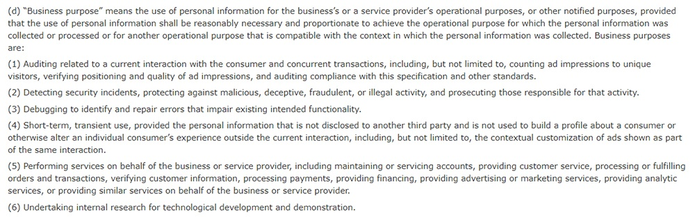 Excerpt of CCPA Section 1798 40 - Excerpt of definition of Business Purpose