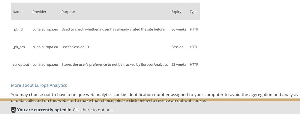 Curia Cookies checkbox with default opt-in