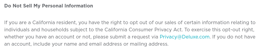 Deluxe Privacy Notice: California-Specific Addendum - Do Not Sell My Personal Information clause