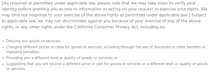 Deluxe Privacy Notice: California-Specific Addendum - Verify identity to exercise rights clause
