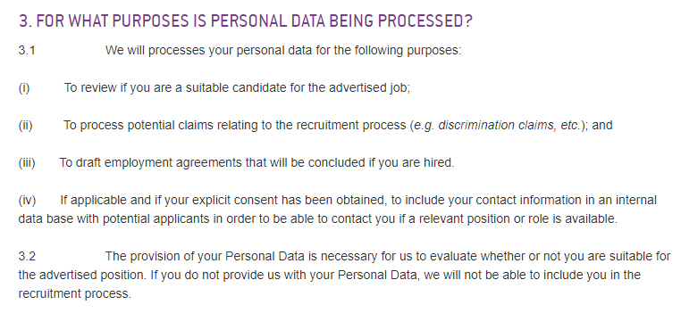 Diaverum Privacy Notice to Job Applicants: For What Purposes is Personal Data Being Processed clause