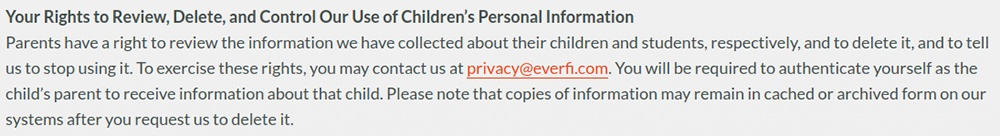 Everfi COPPA Privacy Policy: Parental rights to review, delete and control the use of children's PI clause