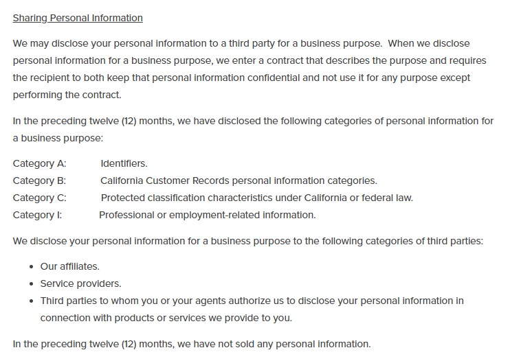 Horne LLP CCPA Privacy Notice: Sharing Personal Information clause