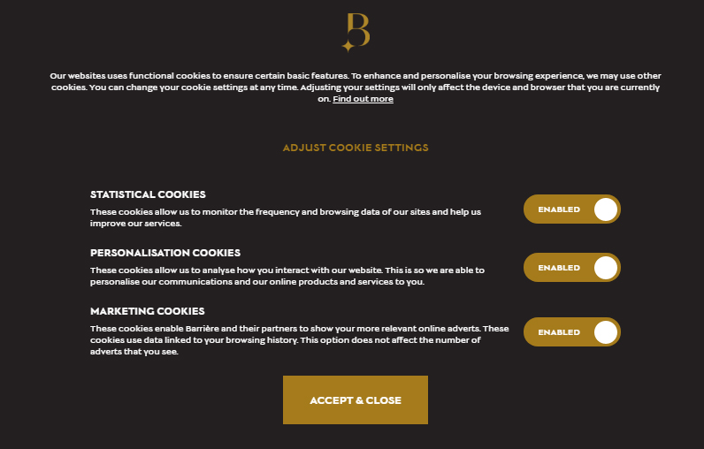 Hotels Barriere Cookie Consent Notice: Adjust Cookie Settings options