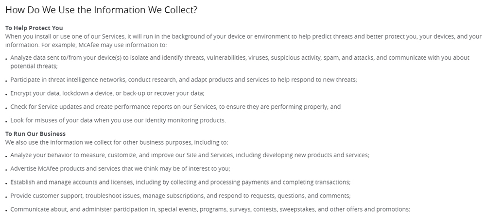 McAfee Privacy Notice: Excerpt of How Do We Use the Information We Collect clause