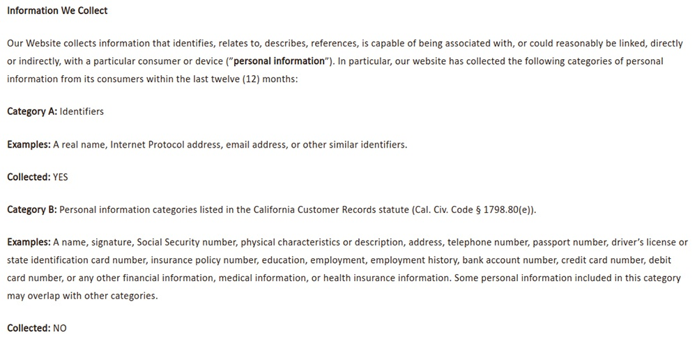 NVA Privacy Notice for California Residents: Excerpt of Information We Collect clause