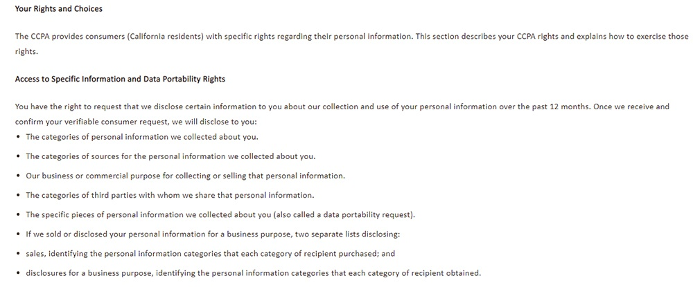 NVA Privacy Notice for California Residents: Your Rights and Choices - Access to Specific Information and Data Portability Rights clause