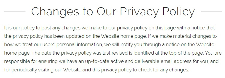 PetSuites of America Privacy Policy: Changes to Our Privacy Policy clause