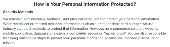 Target Privacy Policy: How is Your Personal Information Protected - Security clause